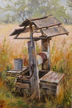 BUY Oil painting, landscape, Well 2 - oil painting on canvas, picture class . Oil Painting On Canvas, Watercolour Painting, Painting & Drawing, Canvas Art, Watercolor Landscape, Landscape Art, Landscape Paintings, Farm Paintings, Barn Pictures