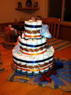 Denver Broncos Diaper Cake.. I want this no matter what I have!!!