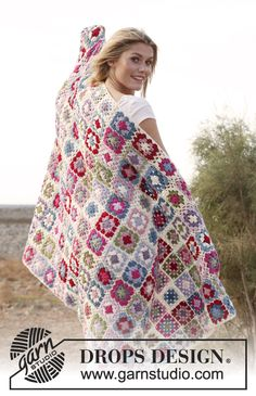 """Free pattern - Crochet DROPS blanket with granny squares in """"Merino Extra Fine"""" @Kathleen S Kelly Design"""