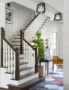 House stairs design large elegant wooden l shaped wood railing staircase photo in duplex house staircase House Staircase, Wood Staircase, Staircase Remodel, Staircase Makeover, Modern Staircase, Staircase Ideas, Wood Railing, Railing Ideas, Spiral Staircases