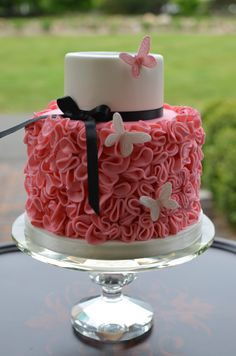 Birthday Cakes - Springtime birthday cake with ruffles and butterflies.