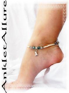 "9 1//2/"" Bow Bowknot Charm Stretch Crystal AB Czech Anklet Ankle Bracelet"