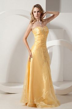 Sweetheart Luxury Yellow Prom Dress - Order Link: http://www.theweddingdresses.com/sweetheart-luxury-yellow-prom-dress-twdn1461.html - Embellishments: Beading , Embroidery , Sequin; Length: Floor Length; Fabric: Tulle; Waist: Natural - Price: 164.95USD