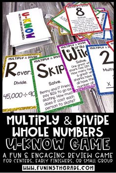 Are you looking for a way to get your 5th grade students to WANT to practice their math skills?  This engaging and fun math game is it!  U-Know game is the perfect activity to practice multiplication and division of whole numbers.  Reviews multiplication of 2-digit by 1-digit, 2-digit by 2-digit and 3-digit by 1-digit as well as multiplication word problems.  Reviews division problems and division word problems!  #5thgrademath #multiplication #division