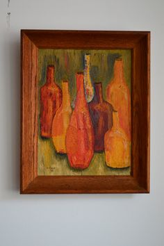 Abstract Still Life Bottles  Vintage Painting by by GalaxieModern