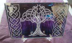 Celtic knotwork Tree of life etched on mirror Yggdrasil by WhyteRavenStudio on Etsy