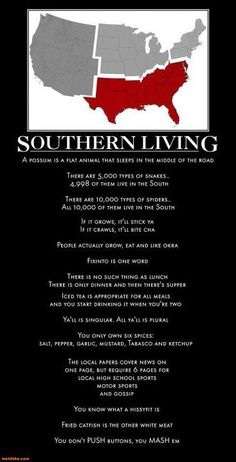 "Original poster said ""I really think Missouri should be included in this. Then again, with all these GD snowbirds Florida is teetering on the brink of losing our Southern designation. Southern Pride, Southern Comfort, Southern Living, Southern Charm, Southern Humor, Simply Southern, Southern Girls, Southern Quotes, Southern Belle Secrets"
