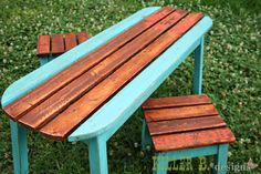 Sweet surfboard inspired table. LOVE the finish! Free plans at Ana-White.com