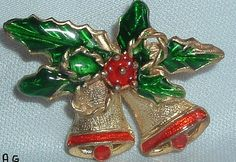 Vintage Goldtone Enameled  Christmas Bells by ALEXLITTLETHINGS, $15.00