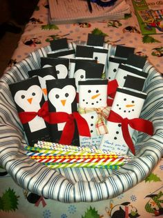 Saw these on Pinterest and made them for my son's 7th birthday Blizzard Bash. These were the party favors. Hershey bars disguised as penguins and snowmen.
