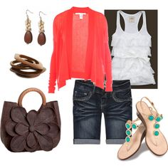 Ruffle tank, Coral Cardi with Brown and Aqua.  Great Colors :)