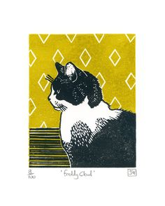 James Green-Freddy Cloud 2 colour linocut print - hand printed - grey and white…