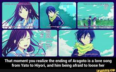 That moment you realize the ending of Aragoto is a love song from Yato to Hiyori, and him being afraid to loose her