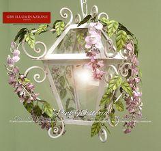 Lantern with Pink Wisteria | GBS Illuminazione – Ferro Battuto – Wrought Iron – GBS Arte e Colore