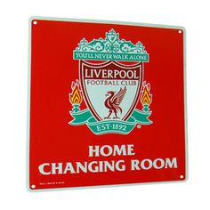 LIVERPOOL Home Changing Room Metal Sign. Approx 23cm x 25cm. Official Licensed Liverpool Merchandise. FREE DELIVERY ON ALL OF OUR GIFTS