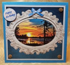 SUPER SUNSET- BIRTHDAY  FATHERS DAY  BLANK SENTIMENTS by Deloraine Neubauer