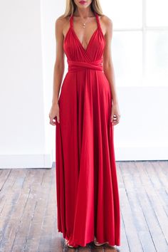 Red Sleeveless Convertible Maxi Dress