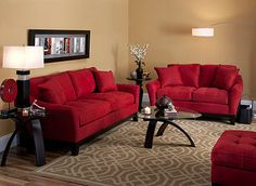 Buttery and bold Red Couch Living Room, Decor Home Living Room, Living Room Modern, Home Decor Furniture, Home And Living, Living Room Partition Design, Room Partition Designs, Cosy Room, Living Room Color Schemes