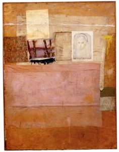 Robert Rauschenberg - 1955, Levee. Combine: oil, paper, printed paper, printed reproductions, fabric, and necktie on canvas (139.7 x 108.6 cm)