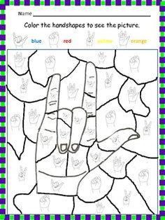 Free ASL printable coloring activity for Easter to