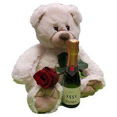 Quality Fruit Baskets. Beer 2  Knuffel 45 cm Grote witte knuffelbeer met rode roos en flesje Cava 200 ml Deze beer is ongeveer 45cm heerlijk zacht en van een goede kwaliteit! Met deze beer maak je een verpletterende indruk