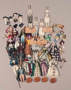 """Paper Dolls, 1790-1940 - The Collection of Shirley Fischer: 35 Remarkable 1860 French Set of Paper Dolls """"La Mode Depuis 100 Ans"""""""
