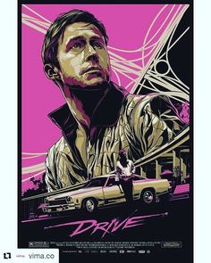 Drive Poster Ken Taylor - Illustration and Design - Melbourne, Australia Best Movie Posters, Movie Poster Art, Cool Posters, Music Posters, Custom Posters, Drive Poster, Ryan Gosling Drive, Drive 2011, Ken Taylor