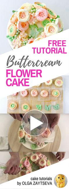 HOT CAKE TRENDS How to make Ranunculus and Hydrangea Buttercream flower cake - Cake decorating tutorial by Olga Zaytseva. Learn how to pipe Roses, Ranunculus and Hydrangeas and create a buttercream flower wreath cake. #cakedecoratingtutorials