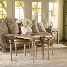 Hooker Furniture Sanctuary Mirrored L&R Bunching Tables in Surf-Visage