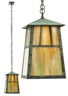 10 Inch Sq Stillwater Double Bar Mission Elongated Ceiling Pendant - Custom Made Lantern Pendant, Ceiling Pendant, Pendant Lighting, Light Pendant, Ceiling Light Fixtures, Ceiling Lights, American Craftsman, One Light, Glass Panels