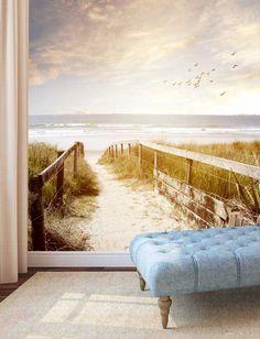 Vlies fotobehang Pad naar het strand Vintage - Strand behang | Muurmode.nl