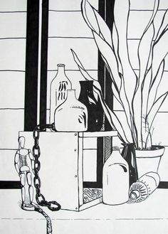 Artsonia Art Museum :: Artwork by Bryce6999- pen and ink still life with line quality