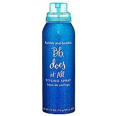 It actually DOES do it all, I promise!. WOrks as a great lighter to medium hold hairspray, but also adds volume. YOu can use it the next day to refesh your style as well :) - Bumble and bumble's Does It All Styling Spray at Trainca.se for $14.00