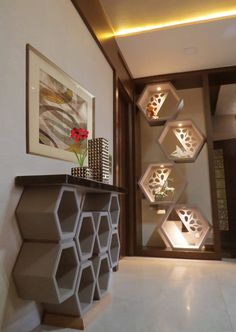 Modern corridor, hallway & stairs by umesh prajapati designs modern in 2020 Living Room Partition Design, Room Partition Designs, Living Room Tv Unit Designs, Hallway Designs, Foyer Design, Home Room Design, Partition Ideas, Niche Design, Living Room Divider
