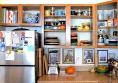 Renovation for Renters: 10 Ideas for the Kitchen Take the doors off the hinges for an open shelving look. Our editor Cambria did this to her own rental, and it was a great success with the use of some great organization and fun, bright dishware. When it's time to move out the doors can easily be reinstalled without anyone ever knowing.