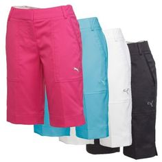 The Women's Puma Golf Tech Shorts are lightweight and have UV protection rated +50 UPF. The solid bold colors and modest length make these a popular choice around which to build your summer golf wardrobe.