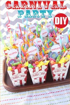 Carnival Party.  Creative food, goodies, party games and party favors.  Great party theme for a girl or boy birthday.