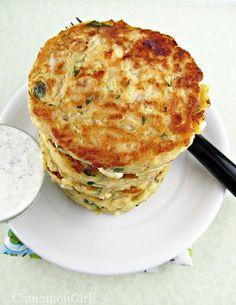 Zucchini Feta Fritters with Tzatziki Sauce. Mmmm, sounds so good.