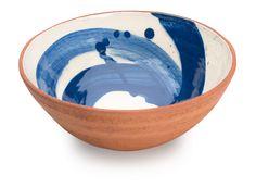 Cobalt Blue Swoosh Bowl by Sally-Jo Bond. Slip decoration on hand thrown terracotta with food safe transparent glaze.