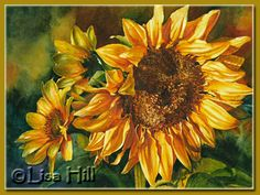 Watercolor painting of a sunflower by artist Lisa Hill titled October Glory
