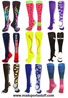 MadSportsStuff Softball Socks.  We have the largest selection of girls softball socks.  Check out our website for even more designs and colors.
