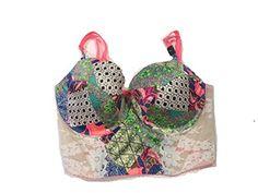 Victorias Secret Dream Angels Lined Demi Fishnet Bra 34DD IvoryPinkGreen