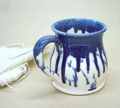 Wheel thrown mug Ceramic Coffee cup Blueberry by blueroompottery, $19.00