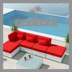 MODENZI DELUXE 6L WHITE Modern Outdoor PE Rattan Wicker Sofa Patio Furniture Set #MODENZI