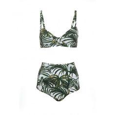 PALMERAL High Waist Bikini - White/Green - House of Hackney