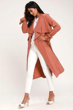 19a248e5b5b47 My Philosophy Golden Yellow Wrap Dress. Charlotte Mauve Long Sleeve Trench  Coat