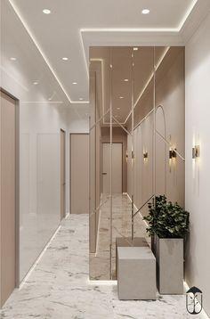 Modern Home Corridor Design That Inspire You 14 - rajesh sharma - Indian Living Rooms Casa Milano, Clinic Interior Design, Spiegel Design, Flur Design, Hallway Designs, Entrance Design, Apartment Interior, Living Room Designs, Living Rooms