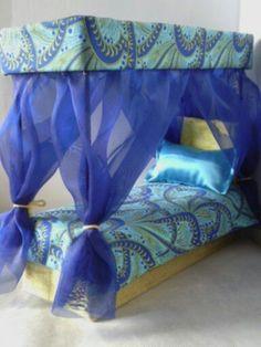 Canopy Bed for Barbie or Monster High Dolls like Cleo de Nile. $45.00, via Etsy.