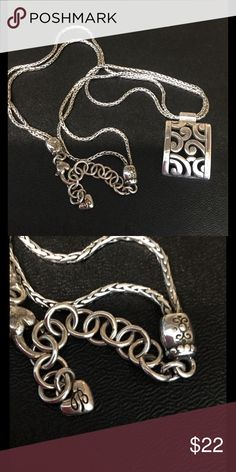 Brighton necklace Brighton necklace in silver with triple strand chain and rectangular pendant. Brighton Jewelry Necklaces