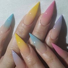 Gel pedicure long hair ideas for 2019 Stiletto Nails, Polygel Nails, Love Nails, How To Do Nails, Fun Nails, Pretty Nails, Glitter Nails, Colourful Acrylic Nails, Cute Acrylic Nails